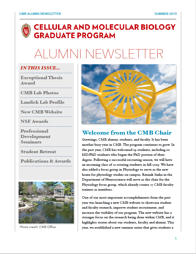 Alumni newsletter-first page